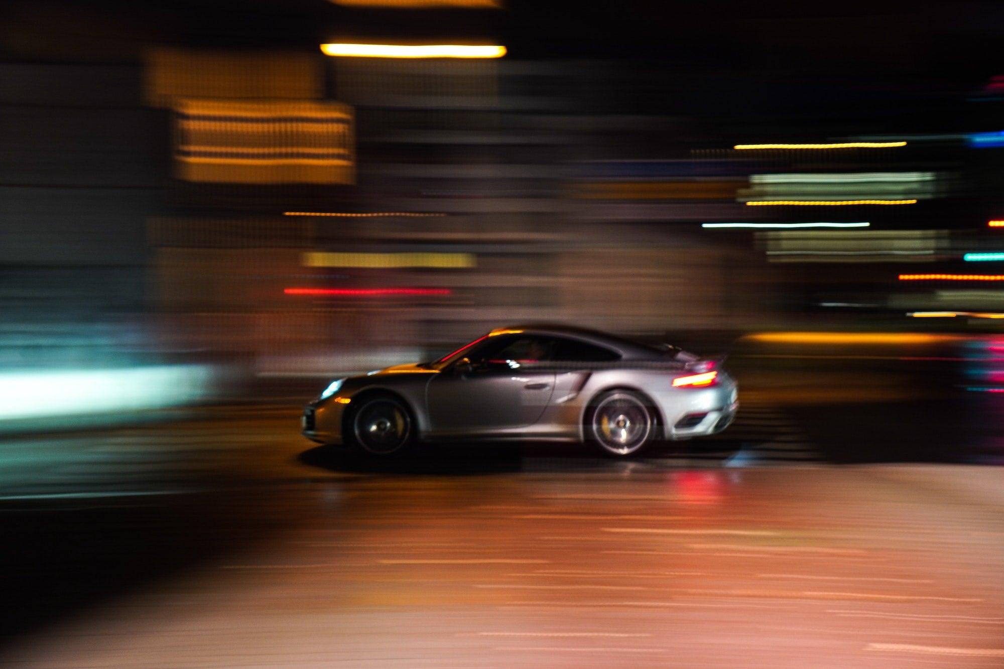 A speeding Porsche.