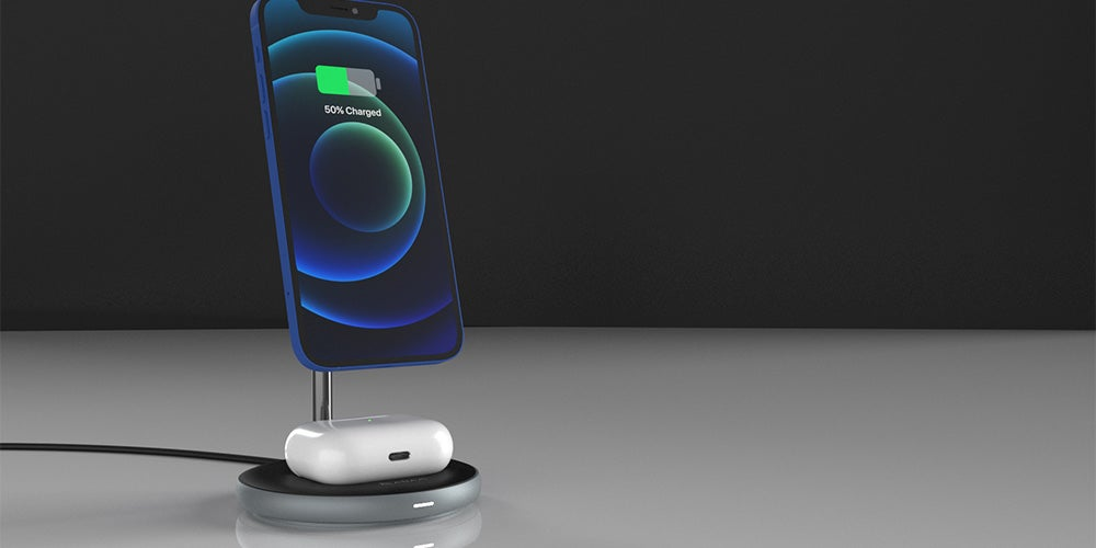 OMNIA M2 Magnetic 2-in-1 Wireless Charging Dock with Power Adapter