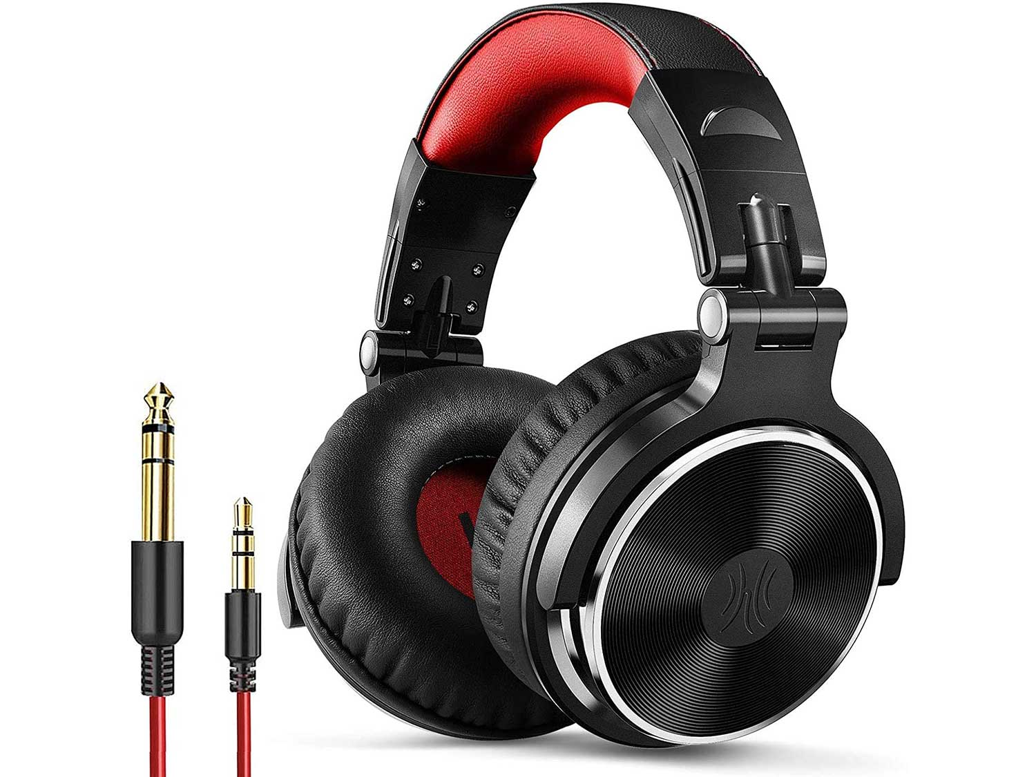 OneOdio Wired Over Ear Headphones Hi-Fi Sound & Bass Boosted headphone with 50mm Neodymium Drivers and 1/4 to 3.5mm Audio Jack for Studio DJ AMP Recording Monitoring Phones Laptop (Red)