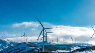 snow on wind turbines