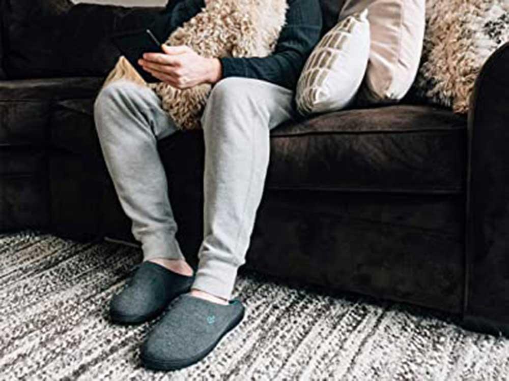 Wearing slippers