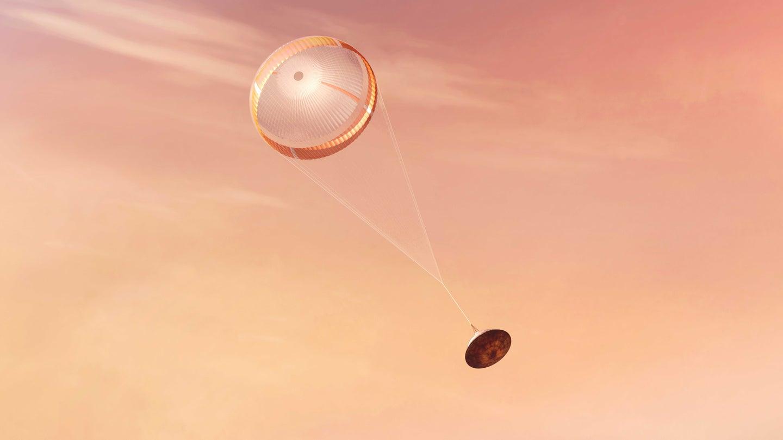 An artist's interpretation of Perseverance, NASA's newest Mars rover, parachuting down from orbit.