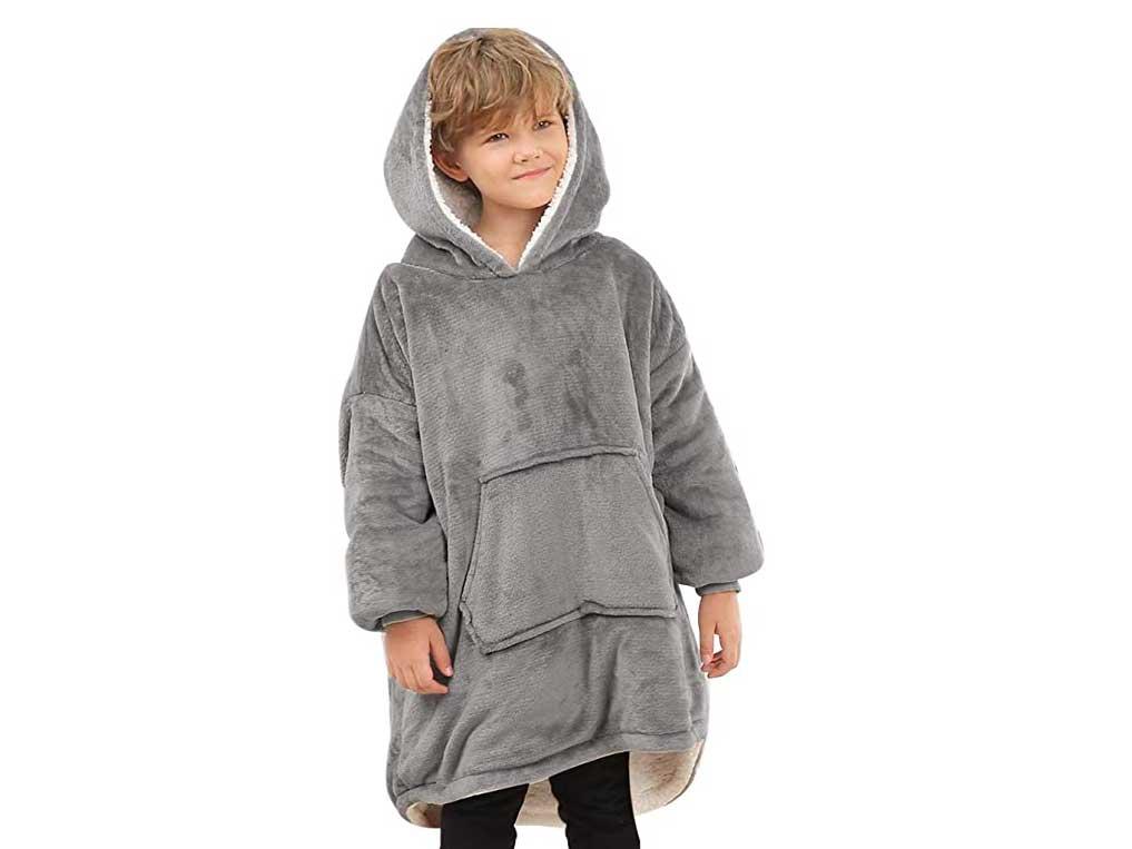Blanket Hoodie for Kids, Oversized Hoodie Sweatshirt Blanket, Super Soft Fleece Dressing Gown, Warm Comfortable Hooded Robe, Gifts for Gamers Boys Girls Teens