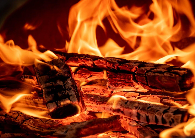 Orange flames on wood
