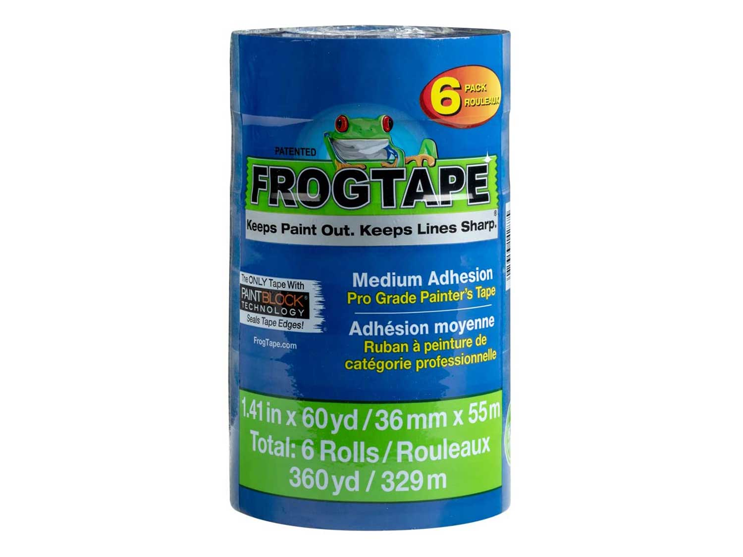 FROGTAPE 242750 Pro Painter's Tape with PAINTBLOCK, 1. 41-Inch x 60-Yards, Blue, 6 Rolls