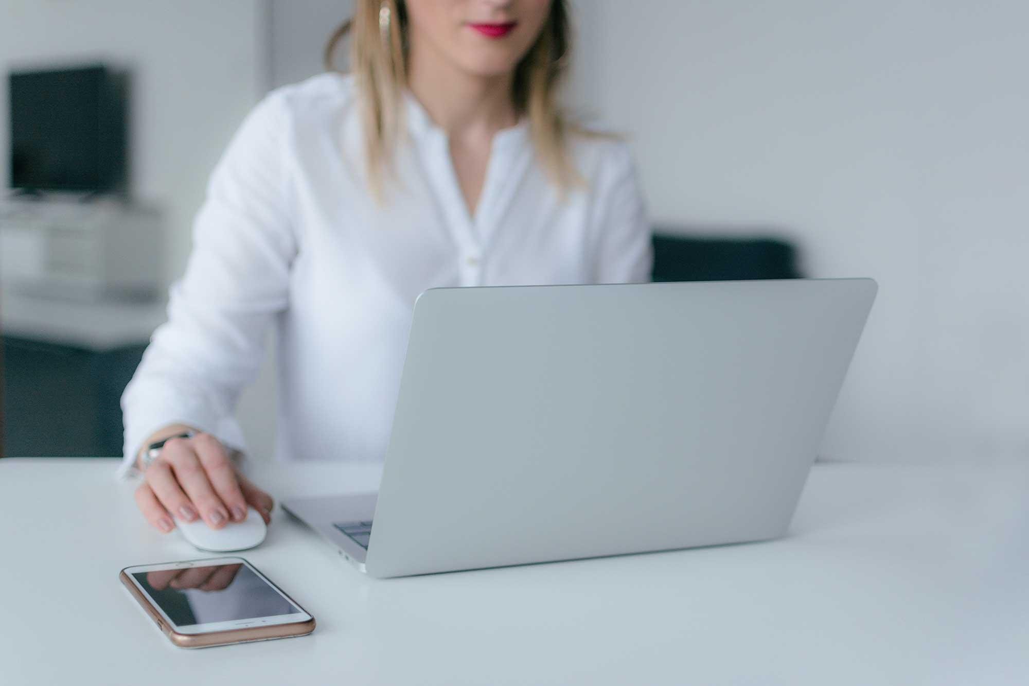 Woman working at laptop