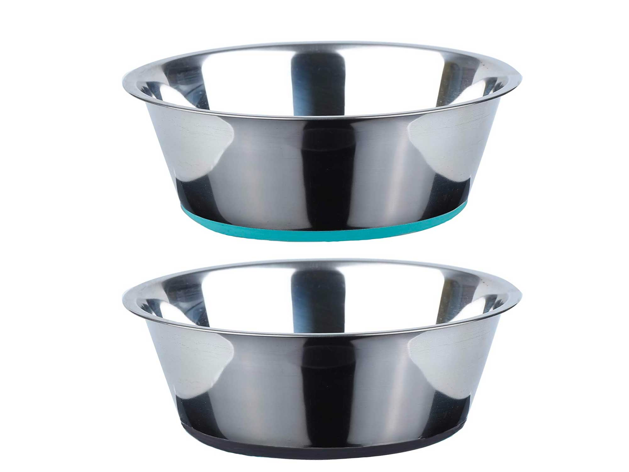 PEGGY11 No Spill Non-Skid Stainless Steel Deep Dog Bowls 26 Oz (3 Cups) Set of 2