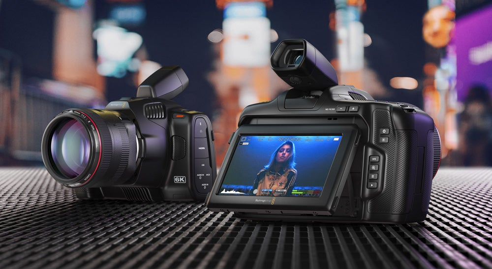Blackmagic 6K Pro camera with angled viewfinder.