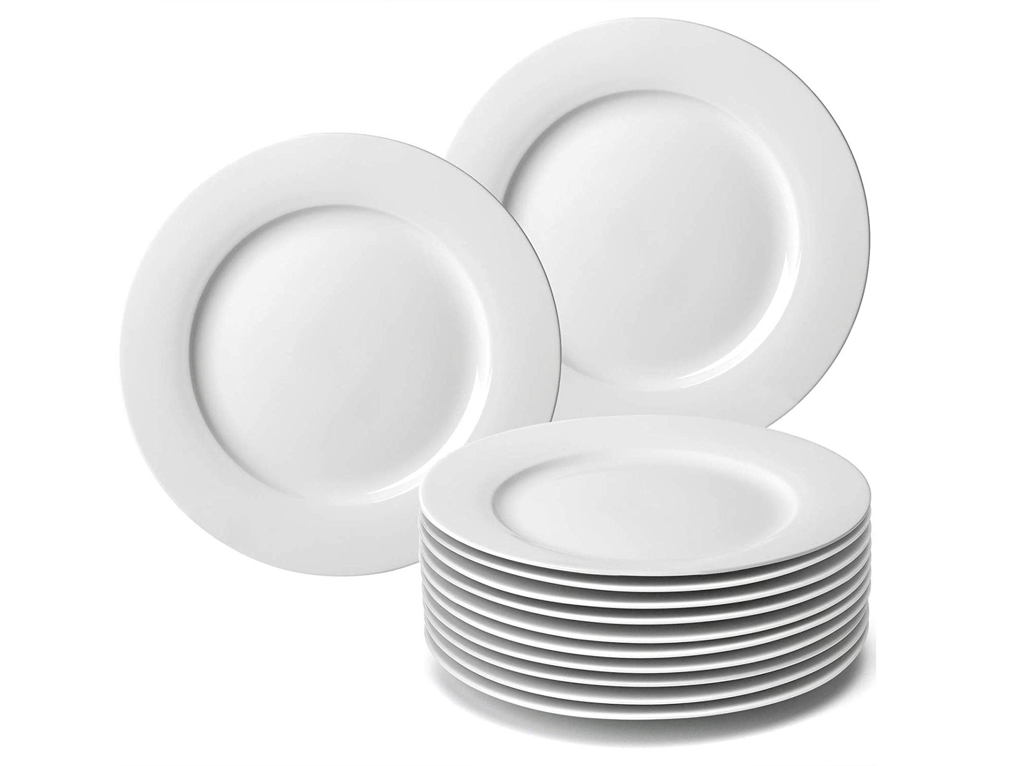 amHomel 12-Piece White Porcelain Dinner Plate Set, 10.5inch High Temperature Natural Dinnerware Set for Restaurant,Kitchen and Family Party Use