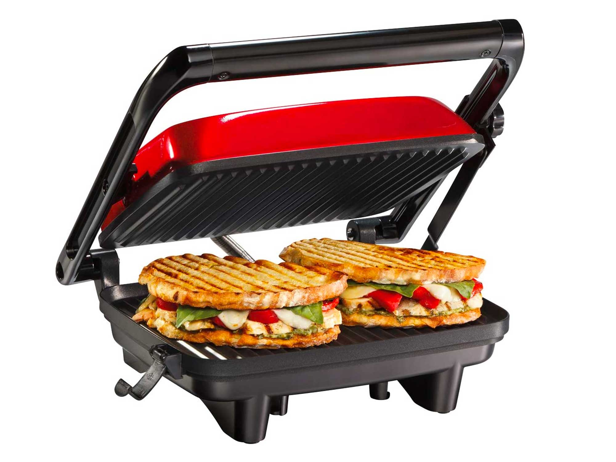 """Hamilton Beach Electric Panini Press Grill with Locking Lid, Opens 180 Degrees for Any Sandwich Thickness, Nonstick 8"""" X 10"""""""