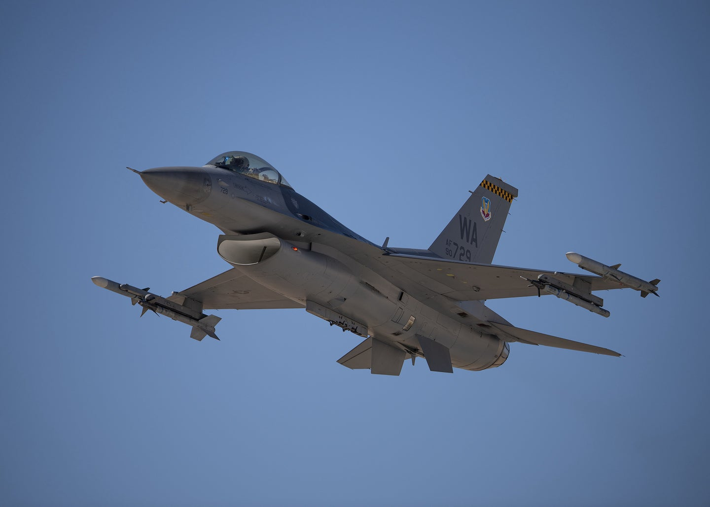 A fighter jet takes off from an Air Force base in Nevada.