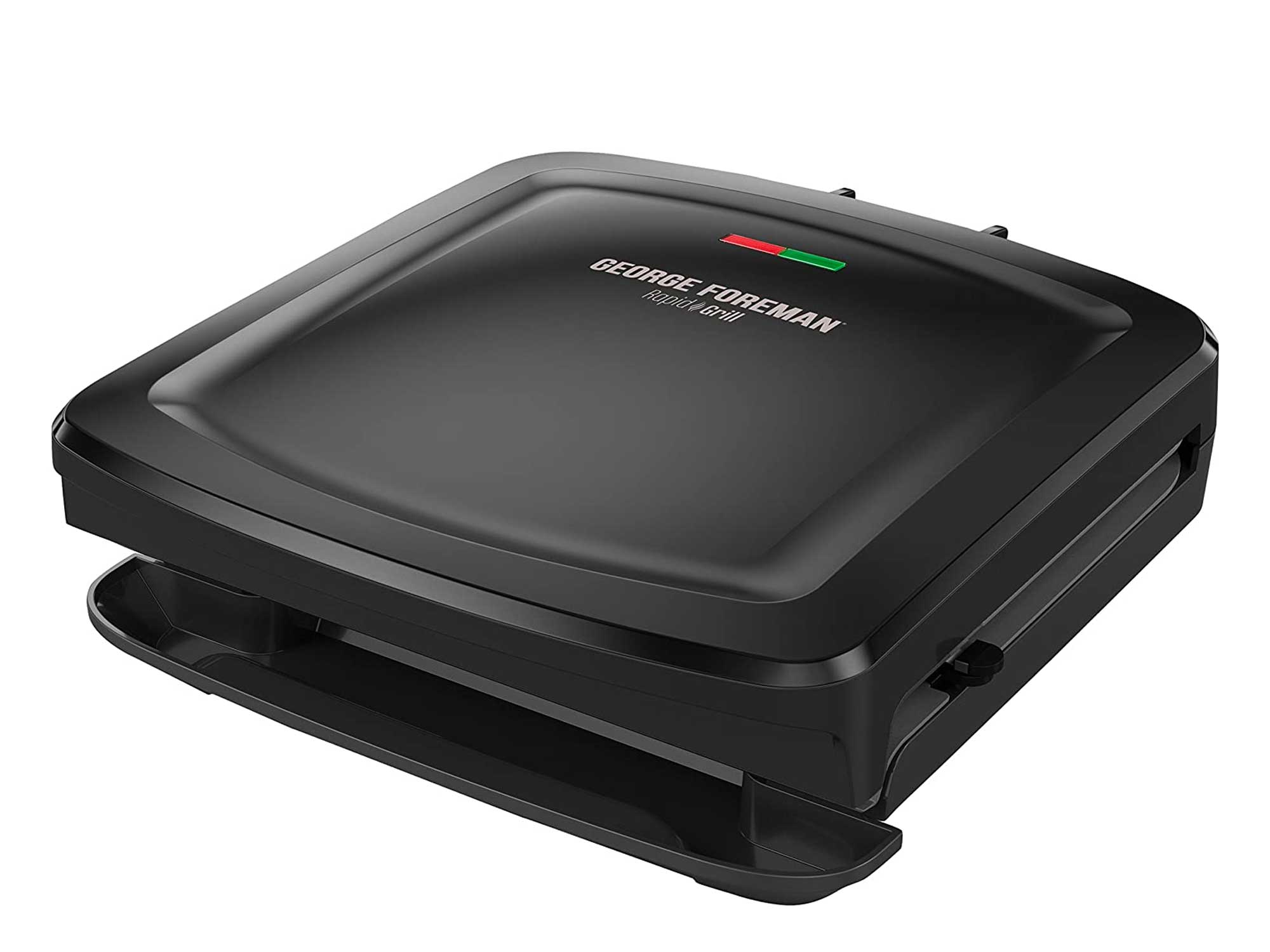 George Foreman Rapid Grill Series, 4-Serving Removable Plate Electric Indoor Grill and Panini Press, Black