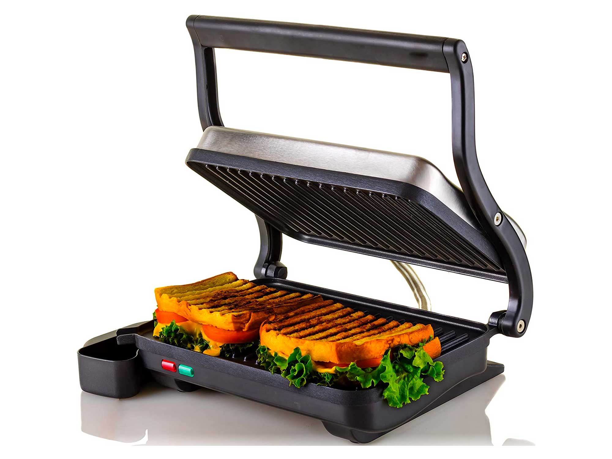 Ovente Electric Indoor Panini Press Grill with Non-Stick Double Flat Cooking Plate & Removable Drip Tray, Countertop Sandwich Maker Toaster Easy Storage & Clean Perfect for Breakfast, Silver