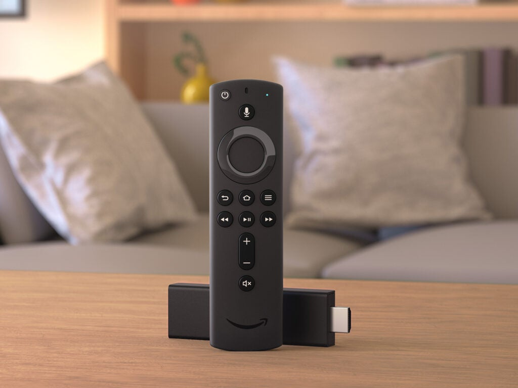 Fire TV Stick on a living room table