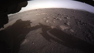 Mars' surface, in high-resolution and color, as captured by the Hazcams on NASA's Perseverance rover.