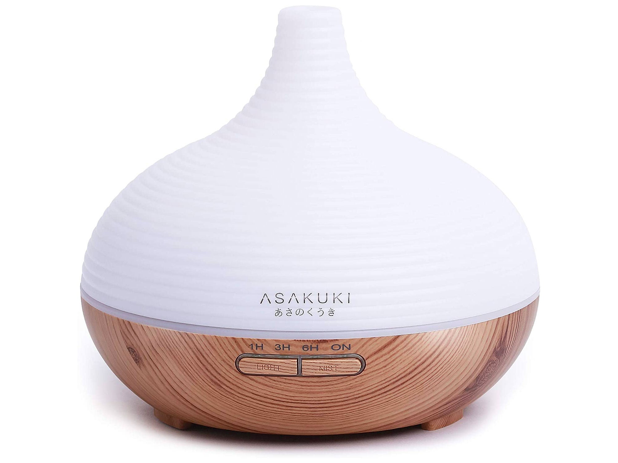 ASAKUKI 300ml Essential Oil Diffuser, Premium 5 In 1 Ultrasonic Aromatherapy Scented Oil Diffuser Vaporizer Humidifier, Timer and Waterless Auto-Off, 7 LED Light Colors