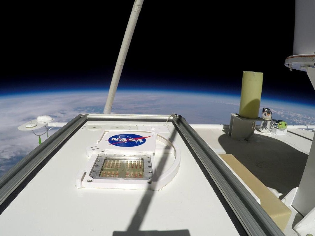 microbes being sent into Earth's atmosphere.