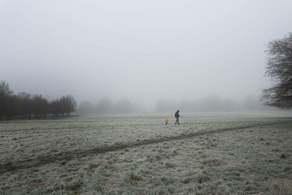 An adult in a brown coat walking across a foggy field, followed by a child in a yellow coat.