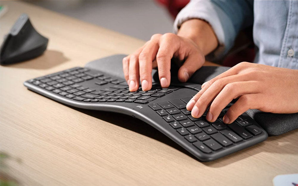 person using a the best ergonomic keyboard