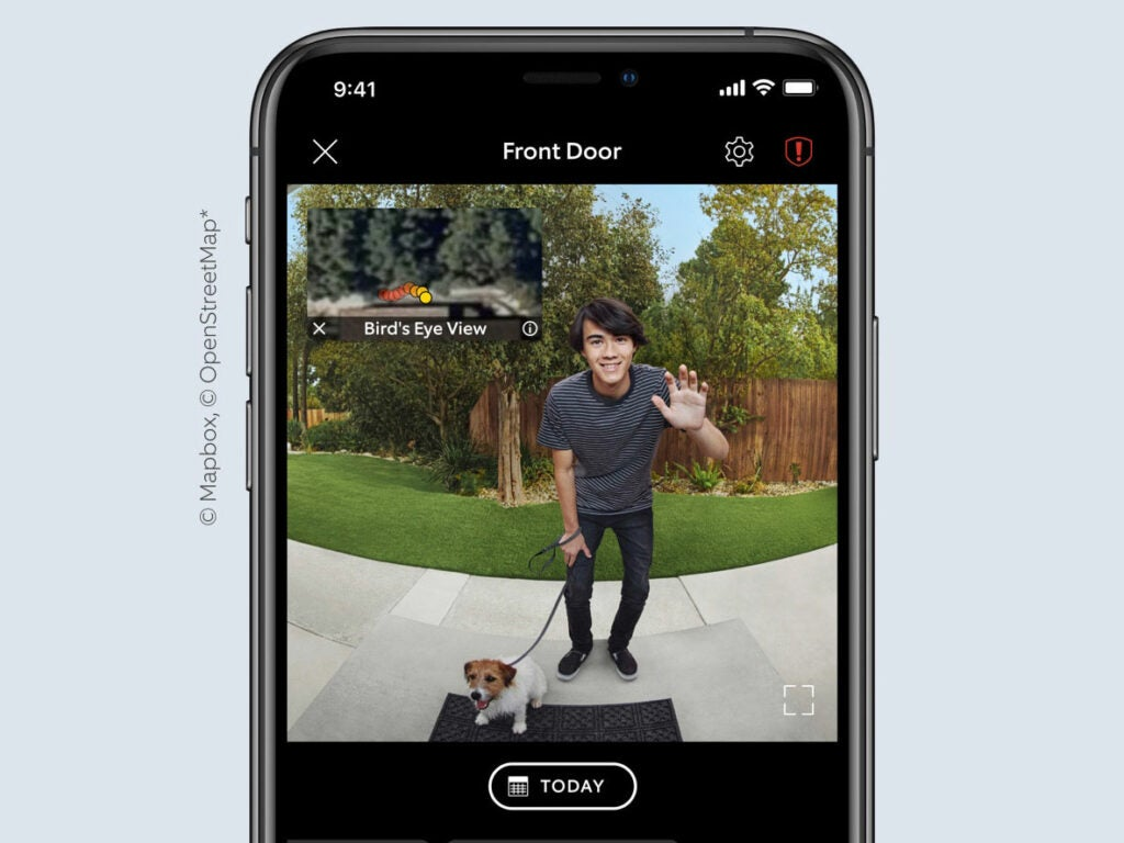 Ring Video Doorbell Pro 2 view of a person with a dog at the door.