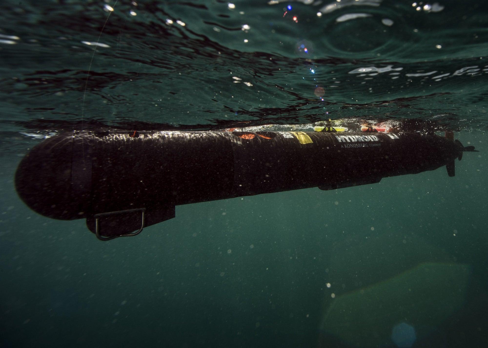 A robotic underwater vehicle in the ocean.