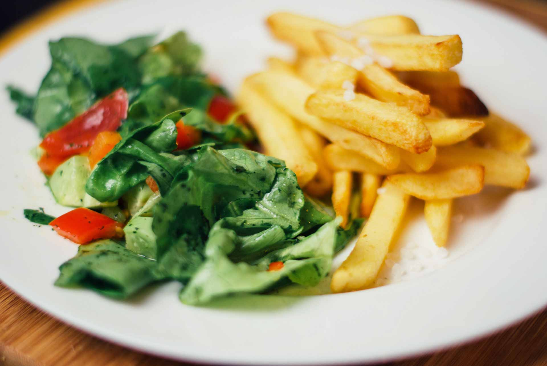 French fries and salad