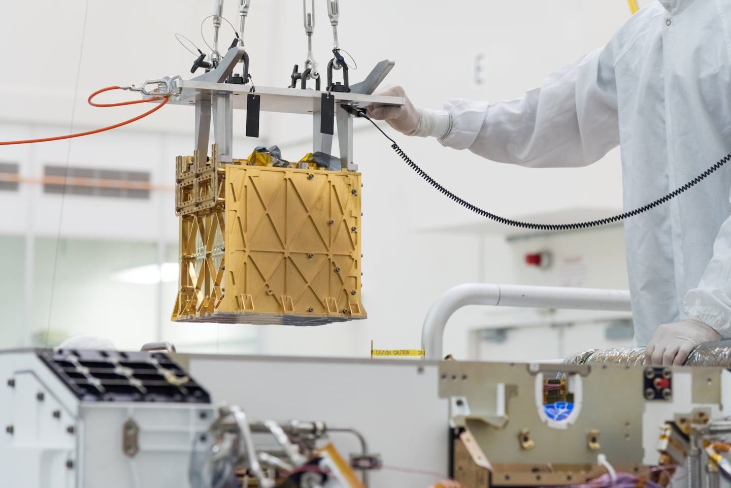 The MOXIE instrument before it was lowered into NASA's Perseverance Rover, which is currently settled on the surface of Mars.