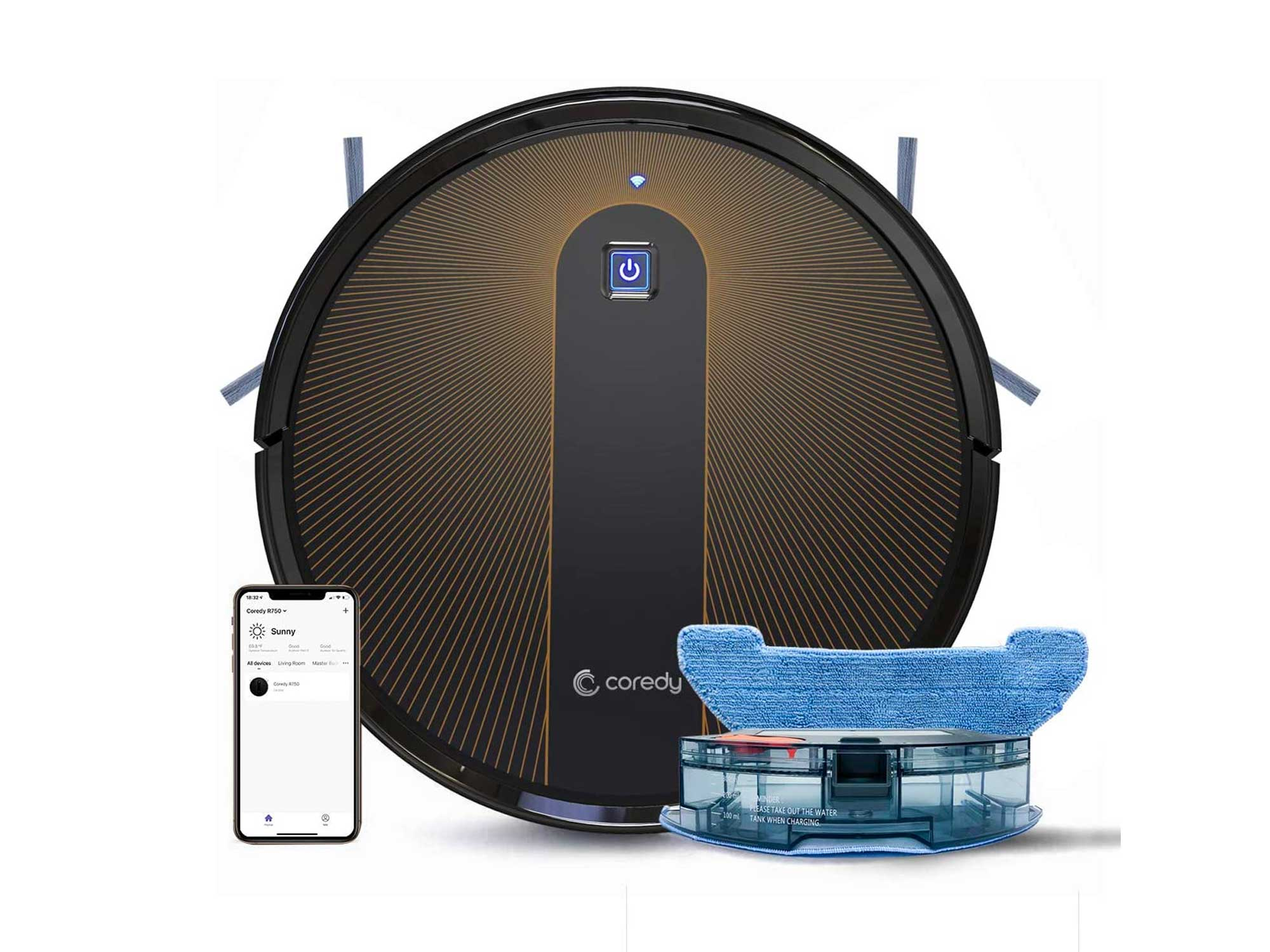 Coredy R750 Robot Vacuum Cleaner, 3-in-1 Vacuuming Sweeping and Mopping, Wi-Fi, App Controls, 2000pa Strong Suction, Slim, Quiet, Self-Charging Robotic Hoover Cleaner, Cleans Hard Floor to Carpet