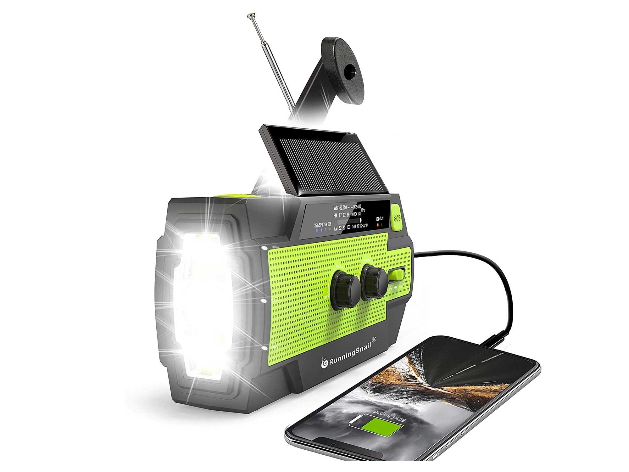 Emergency Crank Radio,4000mAh-Solar Hand Crank Portable