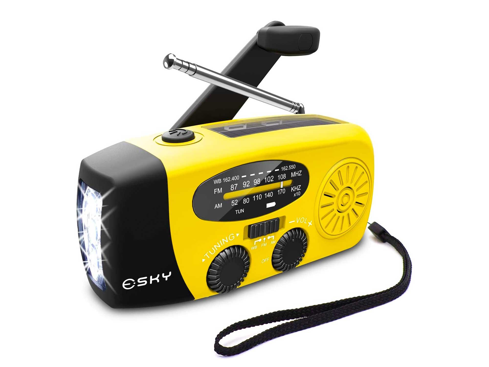 Esky 3 LED Lights Flashlight Hand Crank Radio, Portable Solar Radio