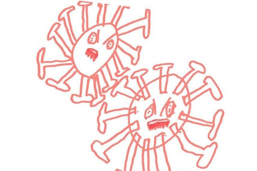 child's drawing of coronavirus