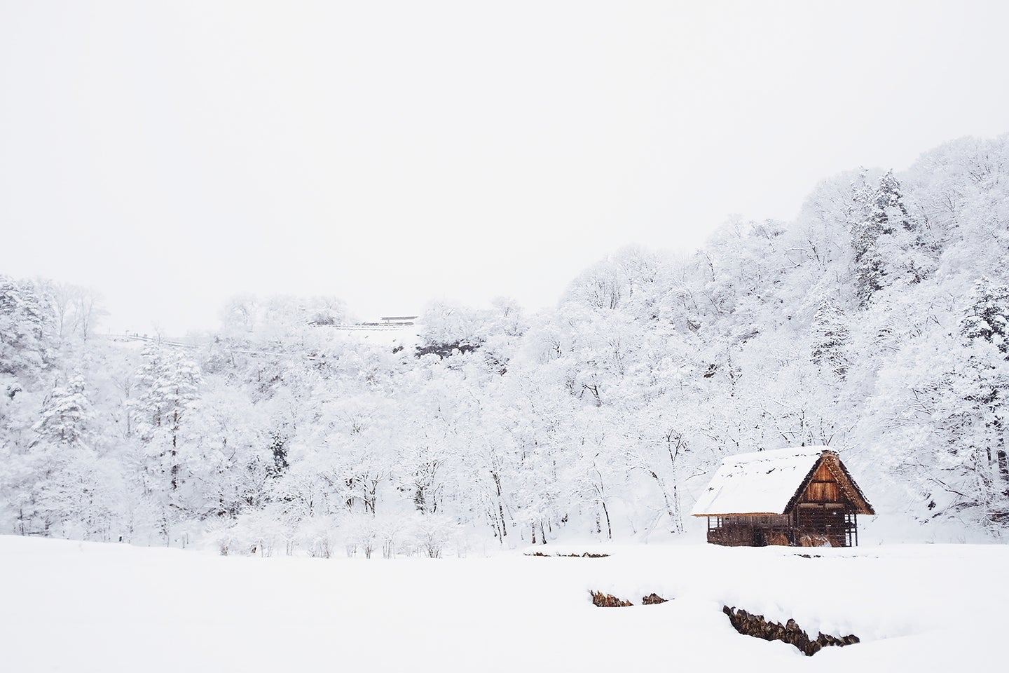 cabin in the woods with a lot of snow around it and snow covered trees