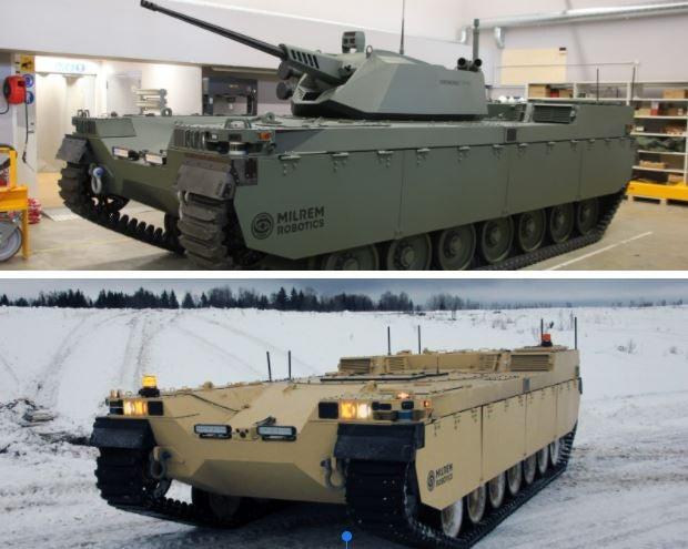 Two formations of Estonia's robotic tank.