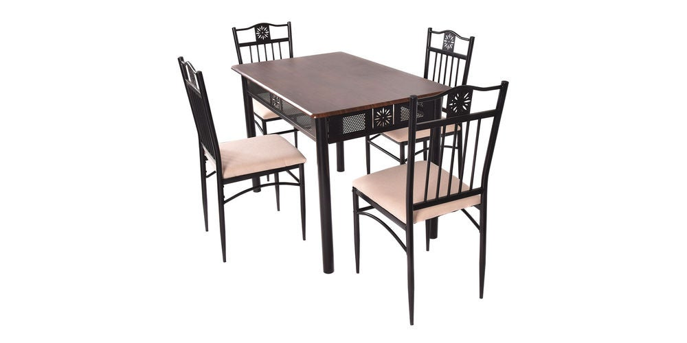 5-Piece Dining Set Wood Metal Table