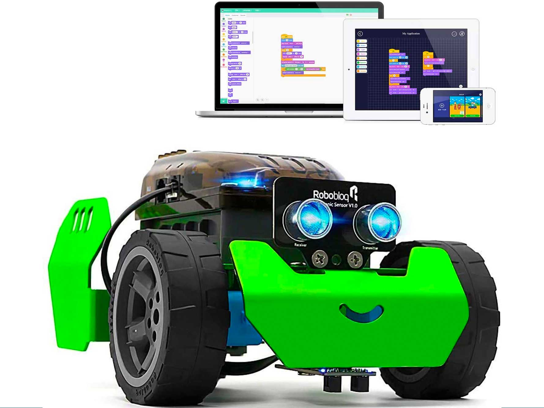 Robobloq STEM Metal Q-Scout Robot Mechanic Kit with Remote Control, Line Tracking, Ultrasonic Sensor, Music Playing for Kids Program Learning of Scratch, Arduino and Python(Basic Version)