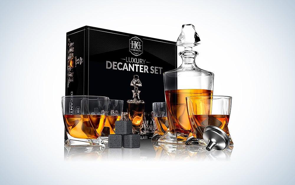 Decanter Set 4 Liquor Glasses