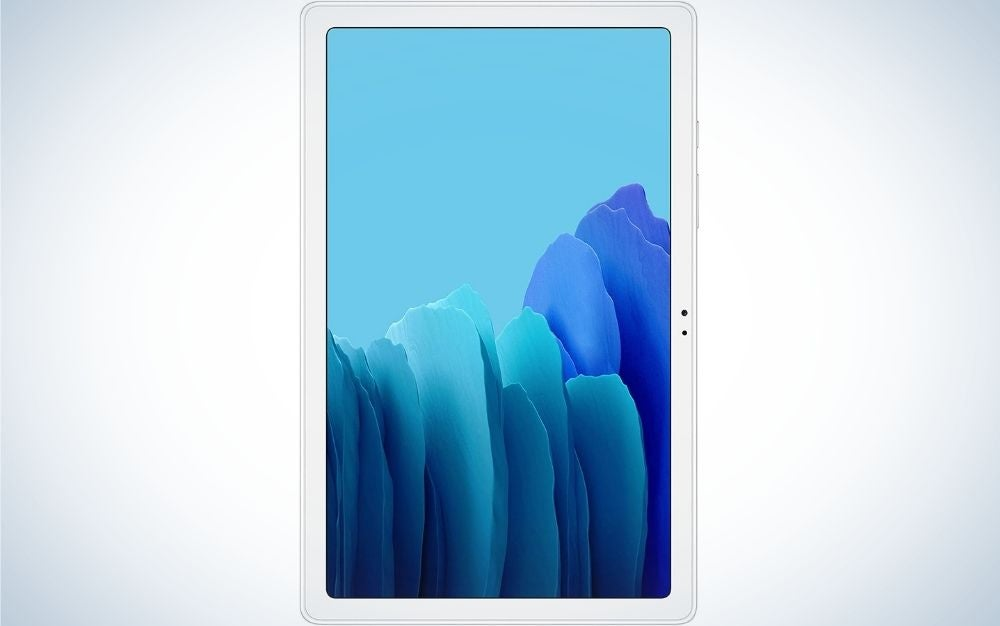 A slim white tablet with a light blue screen from the front.