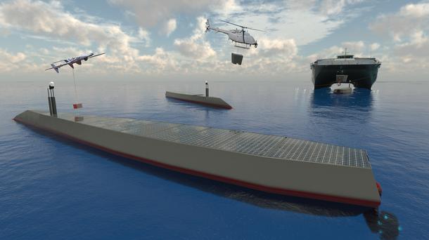 A robot ship at sea.
