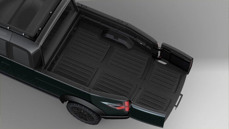Canoo electric pickup truck with extended bed.
