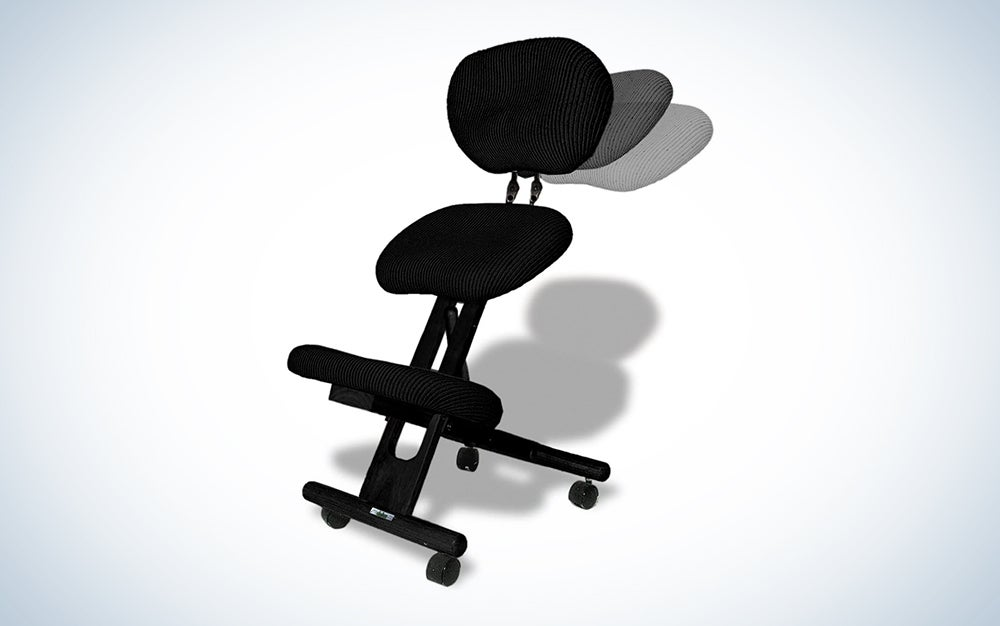 CINIUS Professional Ergonomic Wooden Height-Adjustable Kneeling Chair with Backrest Support