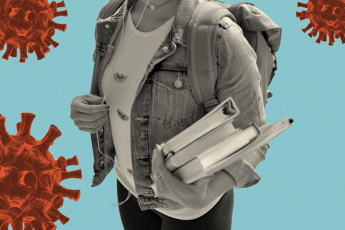 a person wearing a backpack and holding textbooks against a blue background with several red coronavirus illustrations