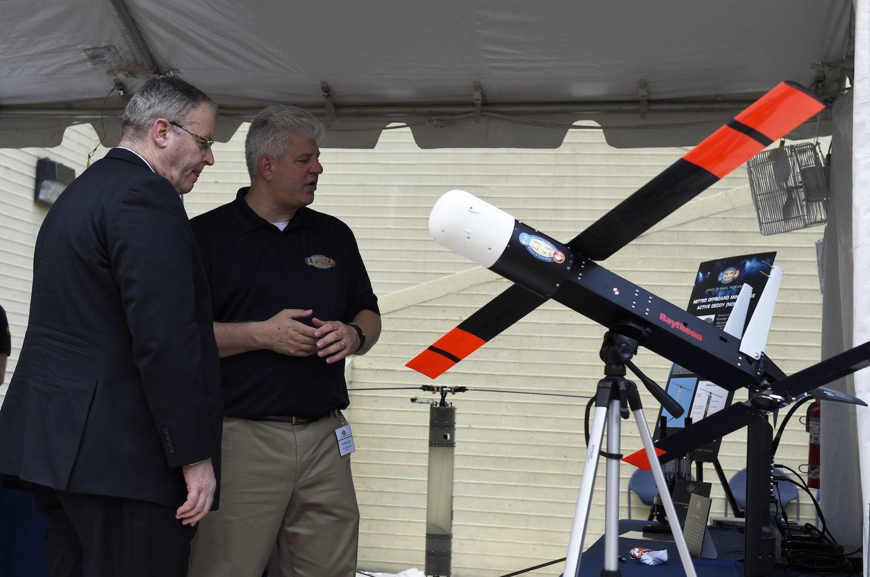 A Raytheon drone on display.