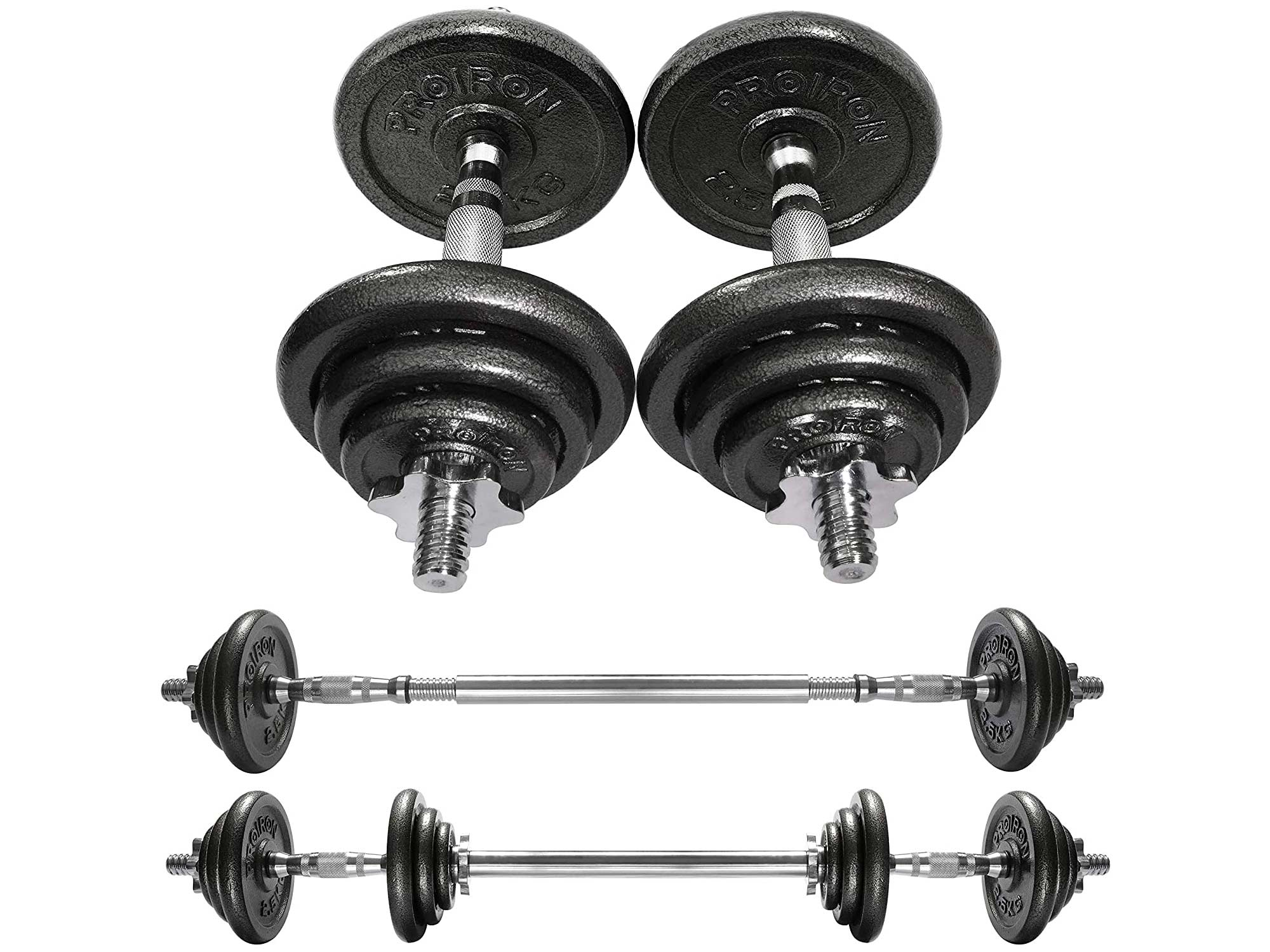 PROIRON 20kg Cast Iron Adjustable Dumbbell Set Hand Weight with Solid Dumbbell Handles