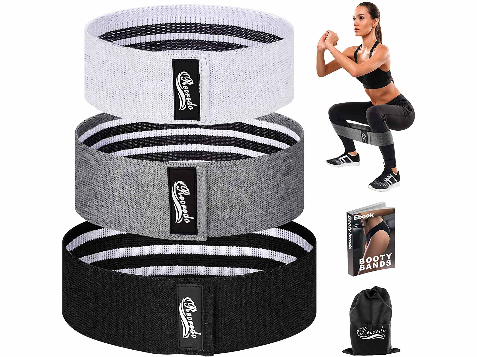 Recredo Booty Bands, Non Slip Resistance Bands for Legs and Butt, Workout Bands Exercise Bands Glute Bands for Women, 3 Pack - Training Ebook and Video Included