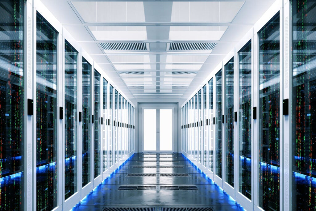 corridor of servers and data storage devices