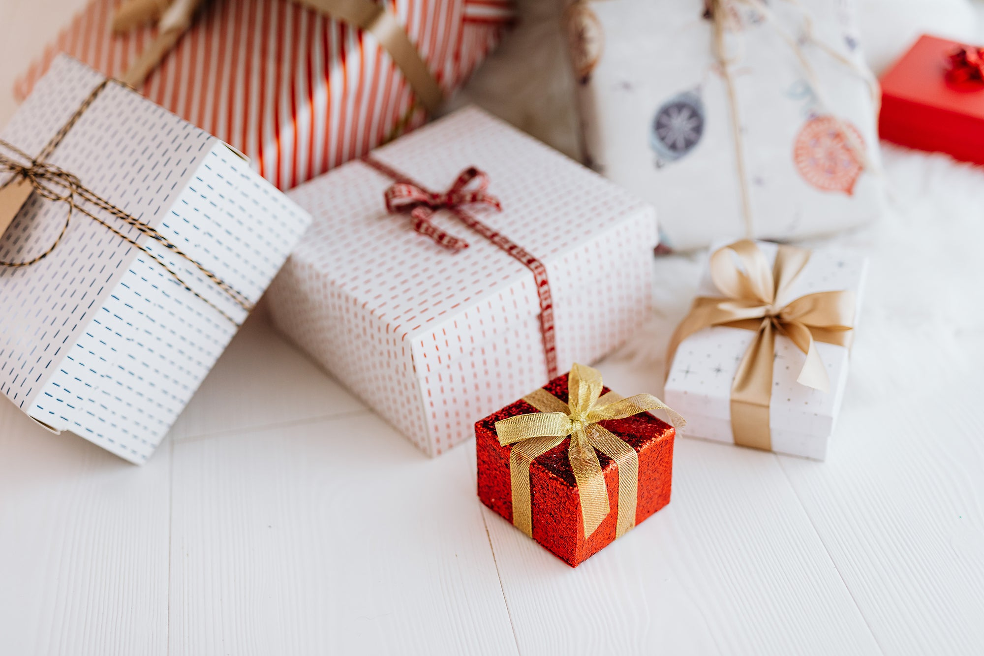 wrapped gifts in all shapes and sizes