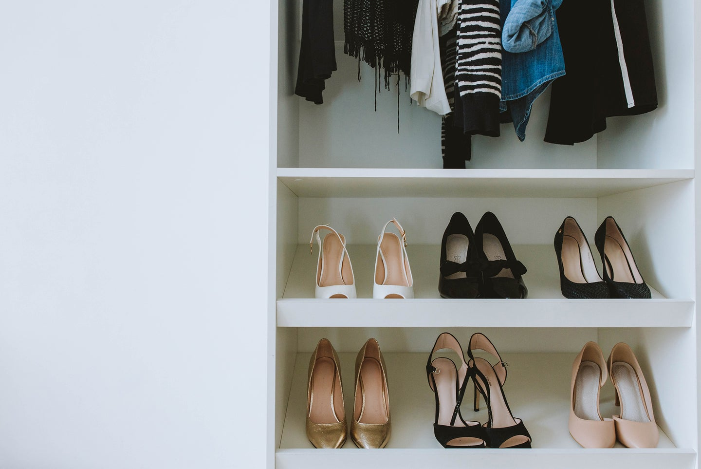 high heels sitting on a shoe rack