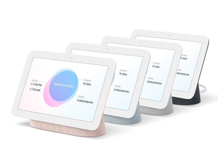 Google Nest Hubs in all the various colors.