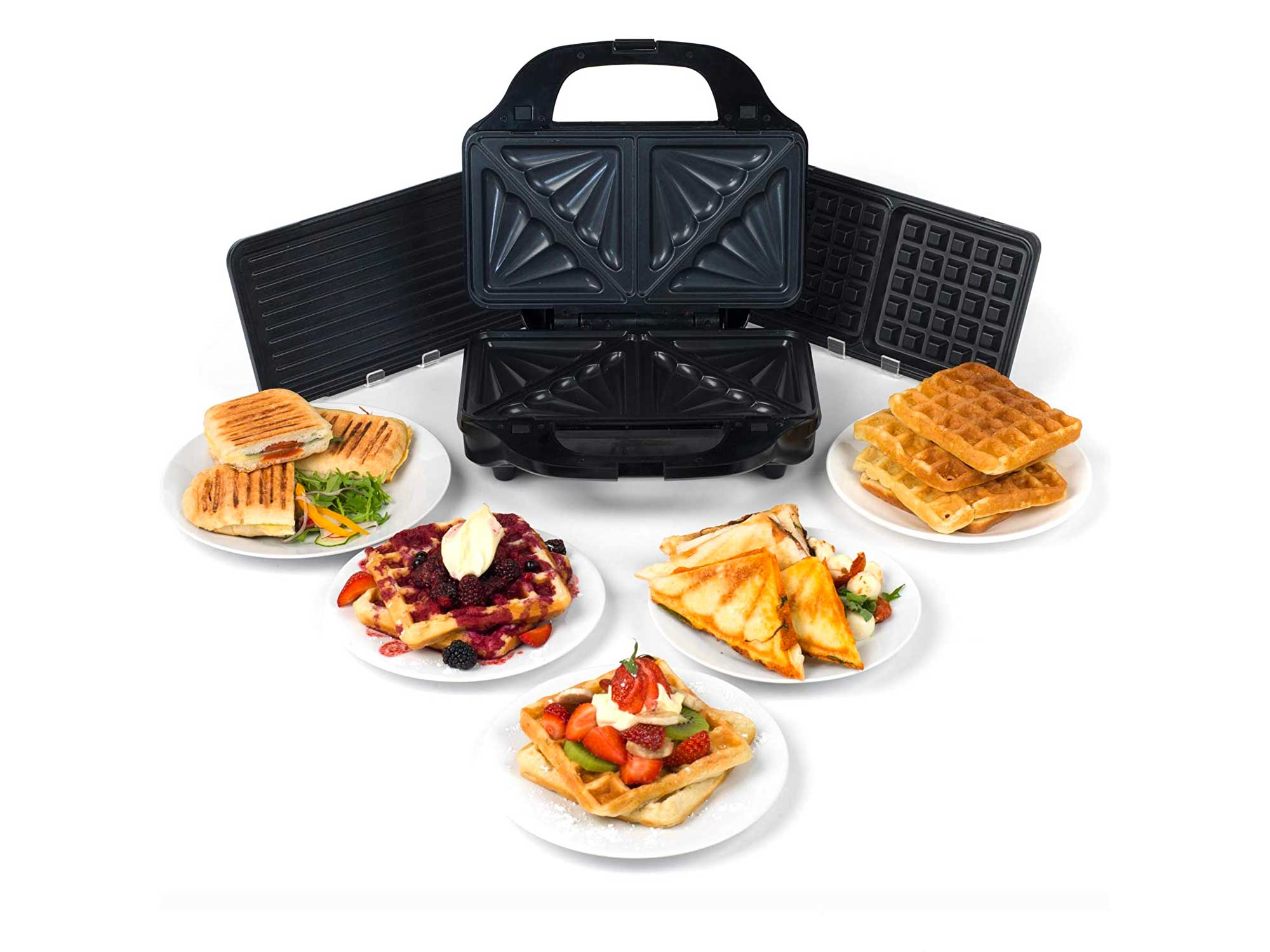 Salter Deep Fill 3-in-1 Snack Maker with Interchangeable Waffle, Panini and Toasted Sandwich Plates