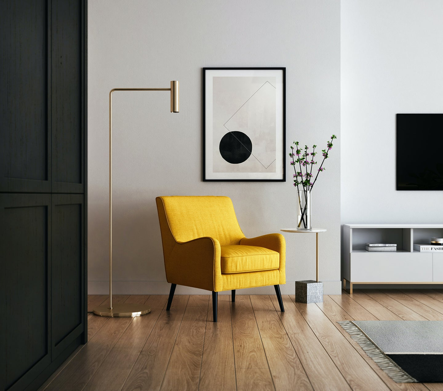 living room with a yellow chair, gold skinny lamp, and a painting on the wall